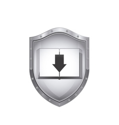 Shield with book and arrow icon flat vector
