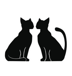 silhouette of two cats vector image