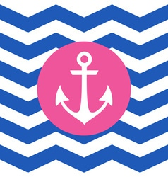 Simple geometric nautical card with anchor vector