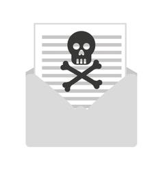 Skull bones cross caution icon vector