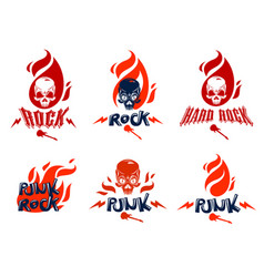 skull in a flames hard rock music logos or vector image