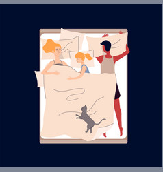 sleeping parents and child in bed flat vector image