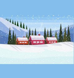 small village houses frozen river winter snowy vector image