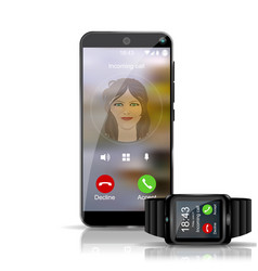 smart phone and smart watch gadget showing the vector image