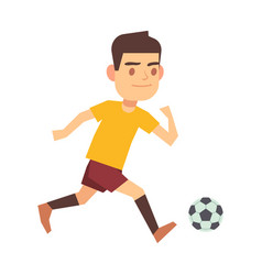 Soccer player running with ball isolated white vector