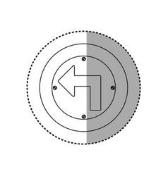 Sticker silhouette metallic circular frame turn vector