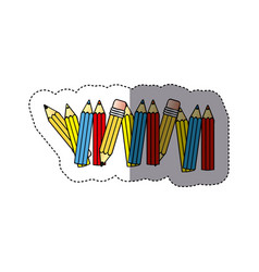 sticker silhouette with colored pencils row with vector image