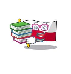 Student with book flag poland in cartoon shape vector