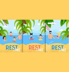 summer rest time on seacoast flat poster vector image
