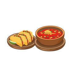 Tacos and often delicious mexican food vector