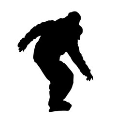 teenager on snowboard descending silhouette vector image