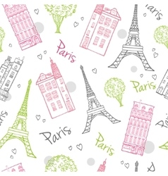 Travel Romantic Paris Streets Seamless vector