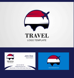 Travel yemen flag logo and visiting card design vector