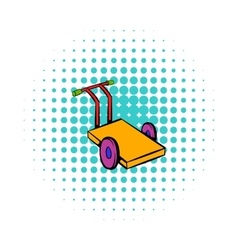 Trolley for luggage icon comics style vector image