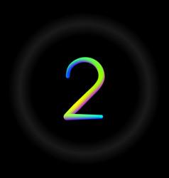 Typo number 2 3d neon fonts modern alphabet vector