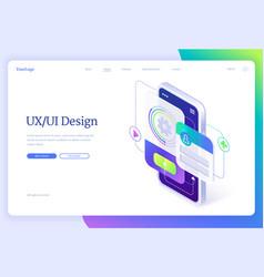 ui ux design user experience isometric landing vector image