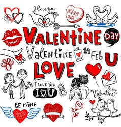 Valentine doodle set vector