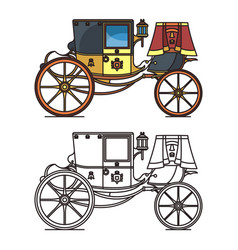 vintage carriage or wedding waggon royal chariot vector image