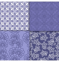 Violet and white floral wallpaper pattern set vector image