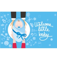 Welcome little baby boy vector image