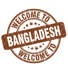 Welcome to bangladesh brown round vintage stamp vector