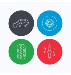 Wheel car mirror and spark plug icons vector image