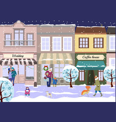 winter christmas street of small city view of vector image