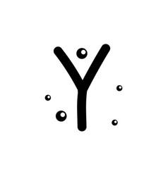 Y hand drawn alphabet design template vector