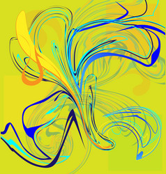 yellow and abstract flower of blue iris vector image