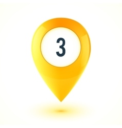 Yellow realistic 3D glossy map point symbol vector image