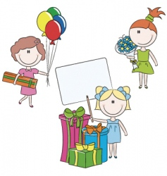 cheerful girls make happy bir vector image