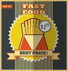 Fast food menu Hot fries vector image