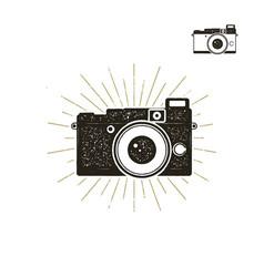 hand drawn vintage camera label with sunbursts vector image vector image