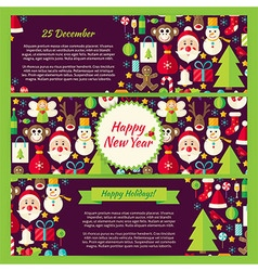 Happy New Year Winter Template Banners Flat Set vector image vector image