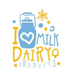 I love milk dairy products logo symbol colorful vector