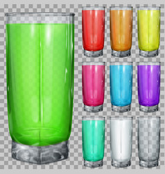 set of transparent glasses with multicolored drink vector image