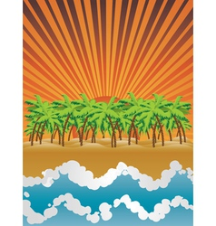 Sunset island vector image vector image