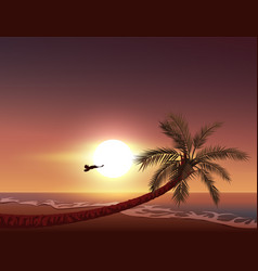 sunset on tropical island sun sets in ocean vector image