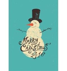 Calligraphic retro Christmas greeting card vector image