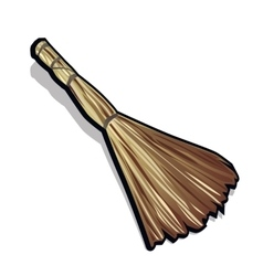 Classic broom made of straw vector image vector image
