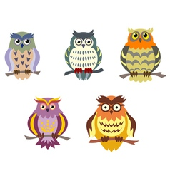 Color cartoon owls set in doodle style vector image vector image