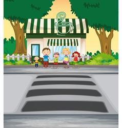 Family outside coffee shop vector image