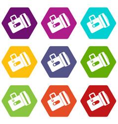 flashlight icon set color hexahedron vector image vector image