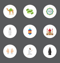 flat icons palm muslim woman islamic lamp and vector image vector image