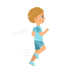 little boy running in a blue shirt and shorts and vector image