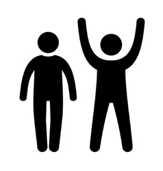 Man Black Web Icon with Up and Down Hands vector image vector image
