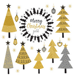 set of isolated christmas gold tree vector image