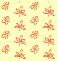 seamless pattern with simple hand drawn leaves vector image