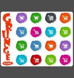 shopping bascket icons set in grunge style vector image