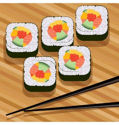 sushi on bamboo mat vector image vector image